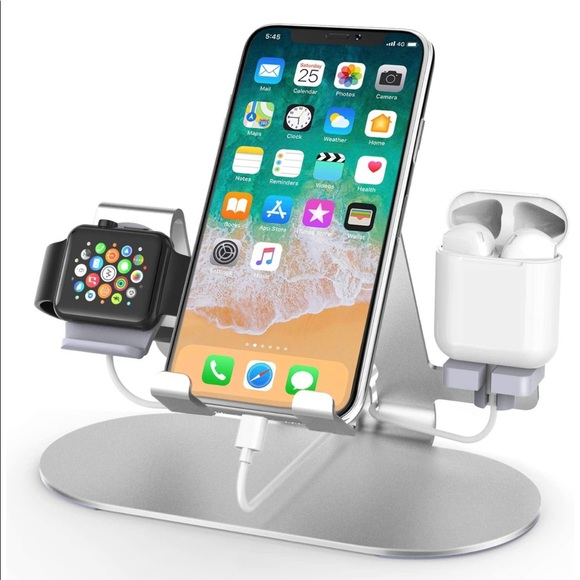 3 N 1 Aluminum Charging Station for Apple products